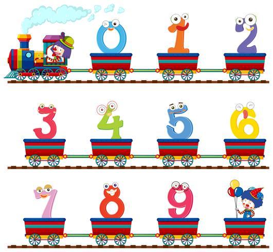Nummer noll till nio på tåget vektor