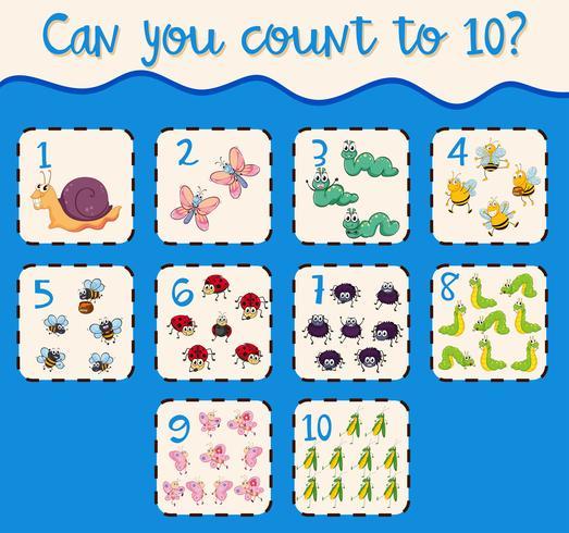 Nummer eins bis zehn mit Insekten zählen vektor
