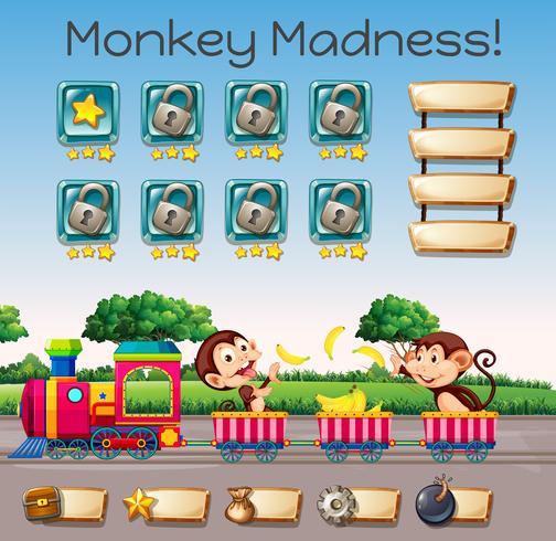 En monkey galenskap spelet mall vektor