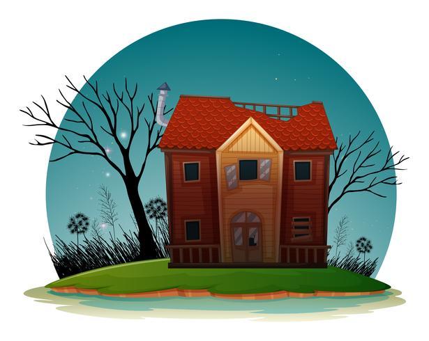 Gammalt hus med trasiga fönster på natten vektor