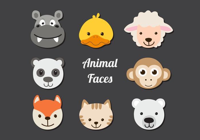 Söta djur ansikten vektor