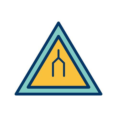 Vektor-zweispurige Straße endet Verkehrsschild-Symbol vektor