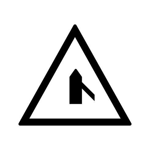 Vektor mindre kors väg från höger vägskylt ikon