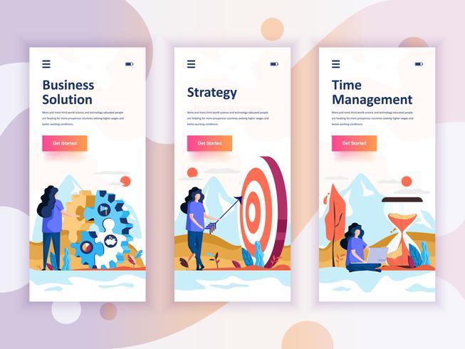 Set med inbyggda skärmar användargränssnitt för lösningar, strategi, tidshantering, mobil app mallar koncept. Modern UX, UI-skärm för mobil eller mottaglig webbplats. Vektor illustration.