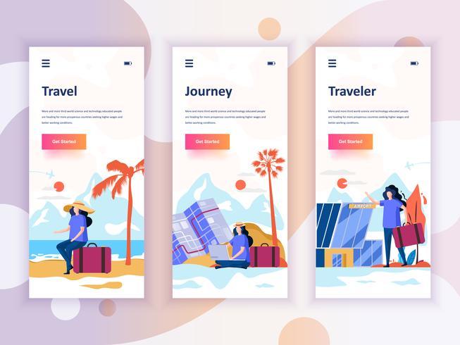 Set Onboarding Screens User Interface Kit für Reisen, Reisen, Reisende, Mobile App-Vorlagen-Konzept. Moderner UX, UI-Bildschirm für mobile oder responsive Website. Vektor-illustration vektor
