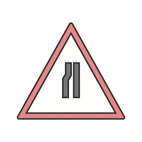 Vektorstraße verengt sich auf linkes Verkehrsschild-Symbol vektor