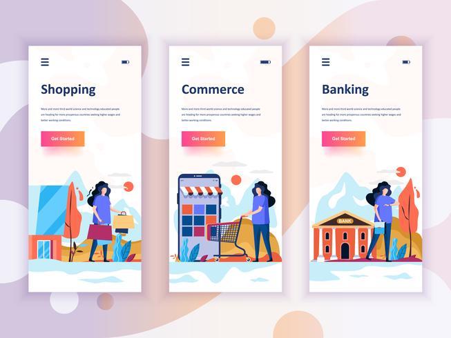 Set Onboarding Screens User Interface Kit für Shopping, E-Commerce, Banking, Mobile App-Vorlagen-Konzept. Moderner UX, UI-Bildschirm für mobile oder responsive Website. Vektor-illustration vektor
