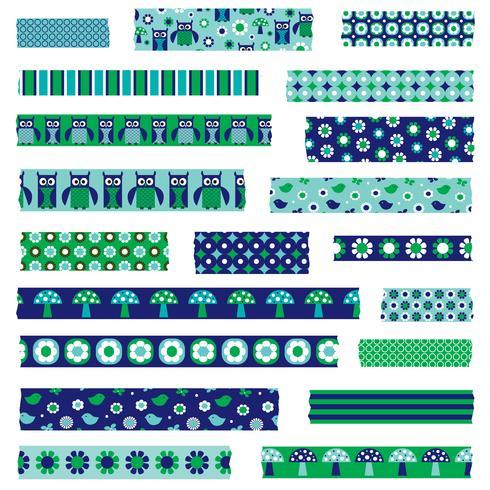 Mod Eule Pilz Washi Tape Clipart vektor