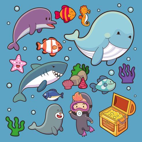 Havsdjur vektor vatten växter havsfisk tecknad illustration undervattensvatten marina vattenlevande karaktärsliv. Undervattens djurliv tropisk valsköldpadda delfin, maneter, sjöstjärna.