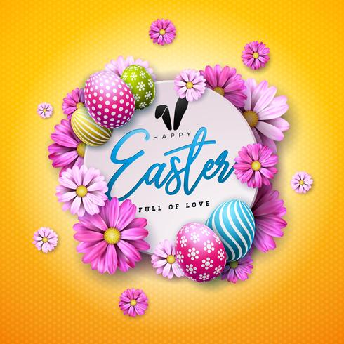 Glückliches Ostern-Feiertags-Design mit gemaltem Ei und Frühlingsblume auf gelbem Hintergrund. vektor