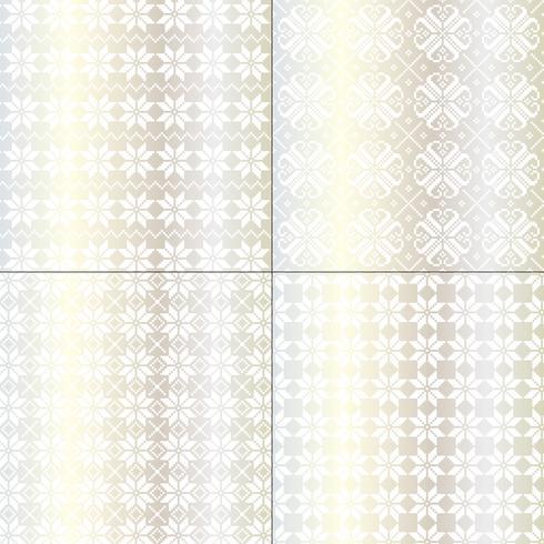 metalliska silver och vita nordiska snöflingor mönster vektor