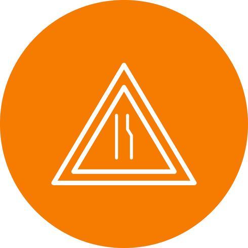 Vektorstraße verengt sich auf rechtem Verkehrsschild-Symbol vektor