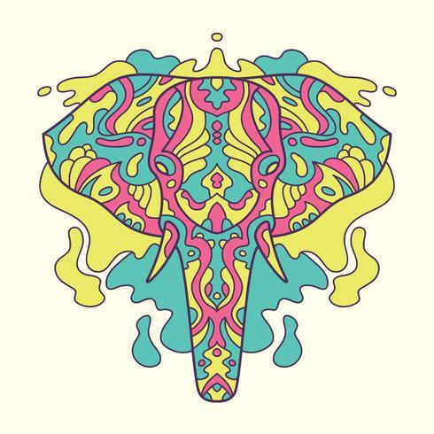Gemalte Elefantillustration. vektor