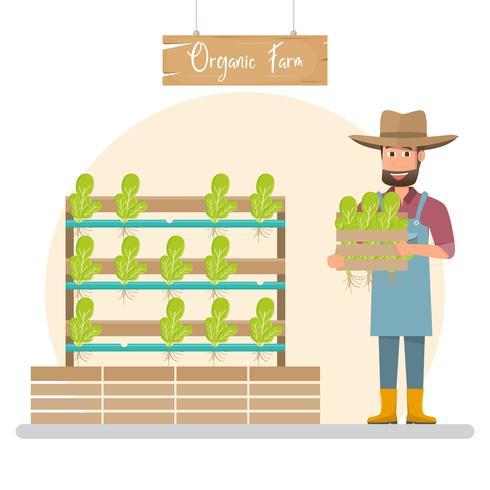 Lycklig bondetecknadskaraktär i ekologiskt lantgård. vektor