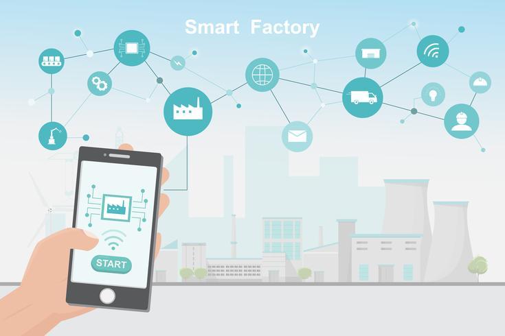 Modern fabrik 4.0, smart automatiserad tillverkning från smartphone vektor