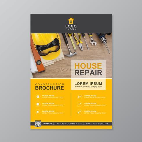 Bauwerkzeugabdeckung a4 Schablone für einen Bericht und eine Broschüre entwerfen, Flieger, Fahne, Broschürendekoration für den Druck und Darstellungsvektorillustration vektor