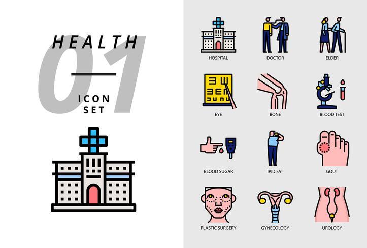 Ikonpaket för hälsa, sjukhus, läkare, äldre, ögon, ben, blodprov, blodsocker, ljust fett, gikt, plastikkirurgi, gynekologi, urologi. vektor