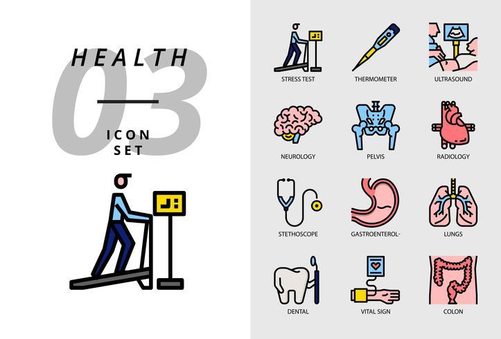 Ikonpaket för hälsa, sjukhus, stresstest, termometer, ultraljud, neurologi, bäcken, radiologi, stetoskop, gastroenterolog, lungor, dental, vitala tecken, kolon. vektor
