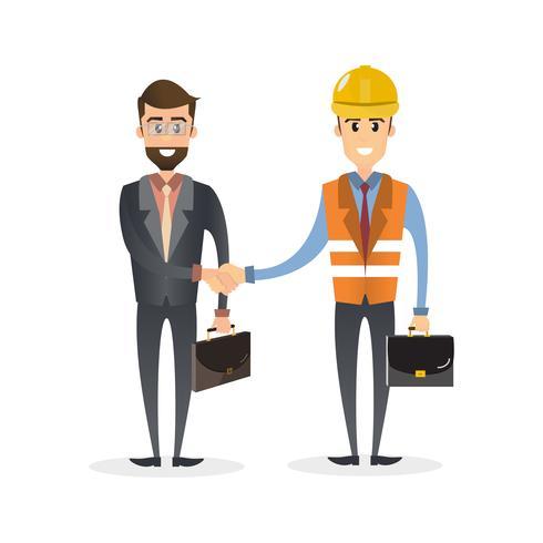 Affärsman skakar hand på ett undertecknat kontrakt med teknik isolerad på vit bakgrund vektor