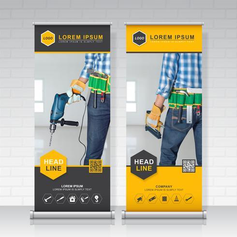 Bauwerkzeuge rollen Design-, Stande- und Banner-Schablonendekoration für Ausstellung, Druck, Präsentationsvektorillustration auf vektor