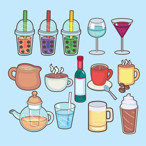 Getränk und Bar-Symbol. Satz der Getränk- und Partyvektorikone für Vorrat. vektor