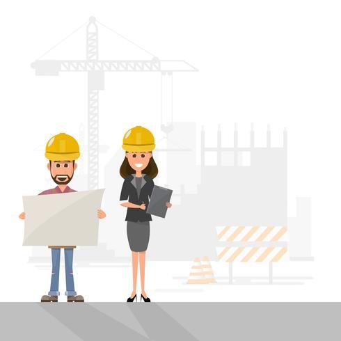 arkitekt, förman, ingenjörsbyggnadsarbetare hanterar ett projekt på byggarbetsplatsen vektor