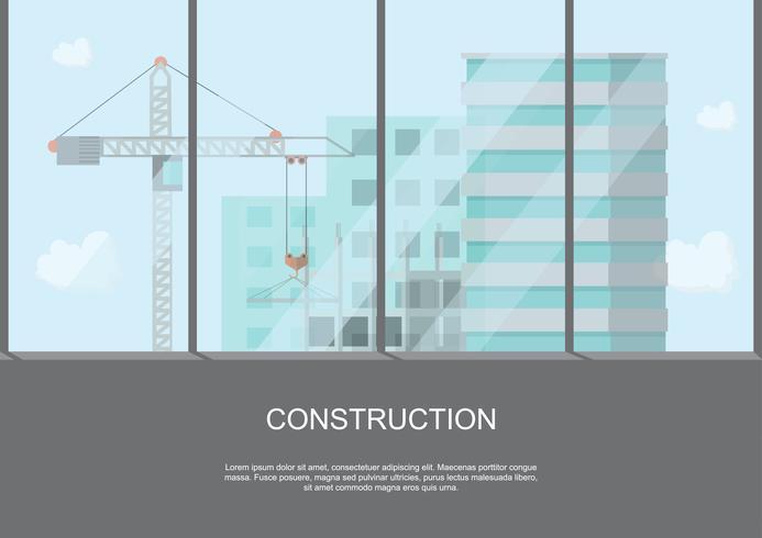 Baustellenarbeitsprozess im Bau mit Kränen und Maschinen in hoher Gebäudeansicht vektor