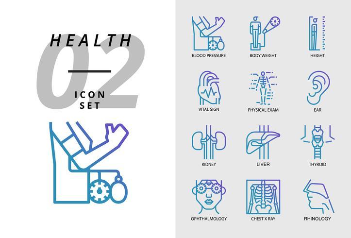 Icon Pack für Gesundheit, Krankenhaus, Blutdruck, Körpergewicht, Körpergröße, Vitalzeichen, körperliche Untersuchung, Ohr, Niere, Leber, Schilddrüse, Augenarzt, Röntgen, Rhinologie. vektor