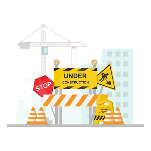 Under konstruktion Concept med stopp, säkerhet och trafik skylt på platt design vektor