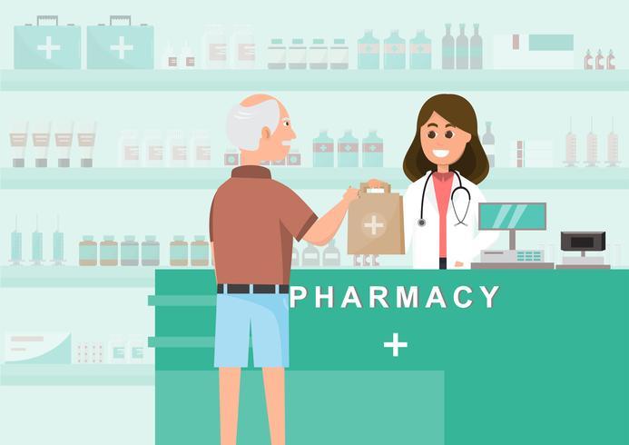 apotek med sjuksköterska i räknaren. apotek tecknad film vektor