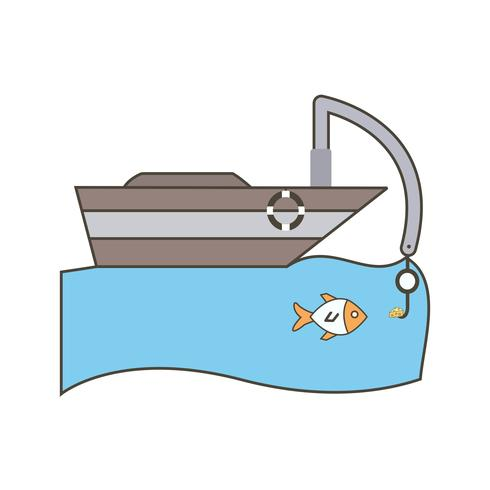 Vektor-Fischerboot-Symbol vektor