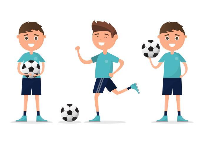 Studenten in verschiedenen Charakter Fußball spielen isoliert auf weißem Hintergrund. vektor