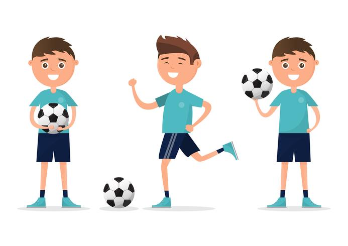 studenter i olika karaktär spelar fotboll isolerad på vit bakgrund. vektor
