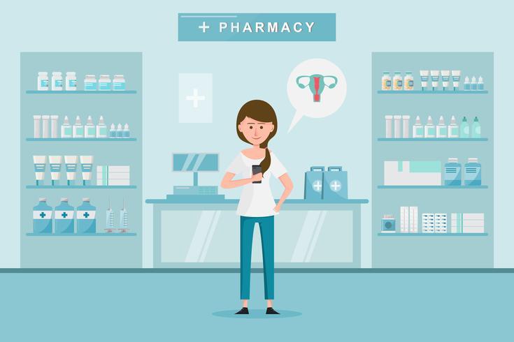 apotek med kvinna köper droger på apoteket. vektor