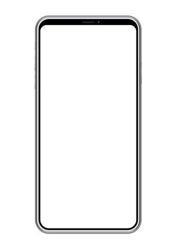Smartphone mit einem leeren Bildschirm lokalisiert auf weißem Hintergrund. vektor