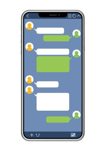 Smartphone mit der SNS-Schnittstelle lokalisiert auf einem weißen Hintergrund. vektor