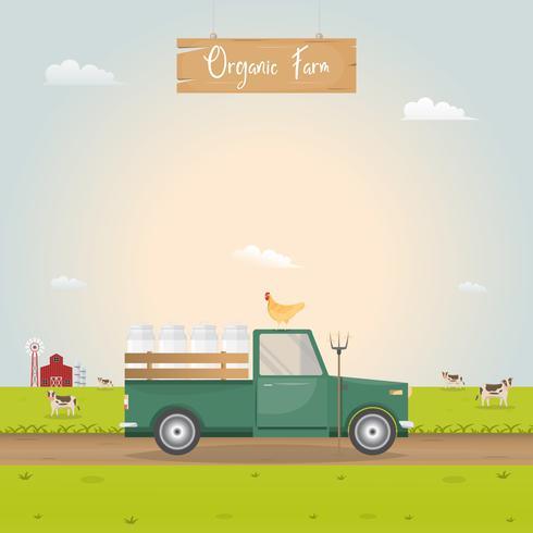 Jordbruk med vintagebil och barnhus i mjölkbruksgård vektor