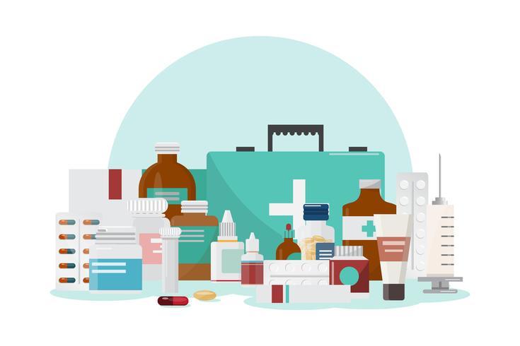 Satz von Medizinflaschen, Drogen und Pillen, Apotheke, Drogerie vektor