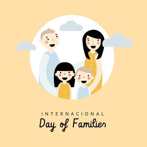 Familienszene bis zum Internationalen Tag der Familien vektor