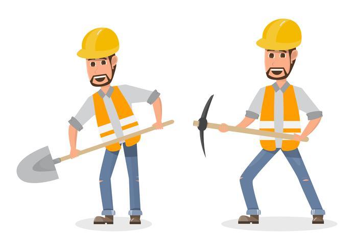 arkitekt, förman, ingenjörsbyggnadsarbetare i olika karaktär vektor