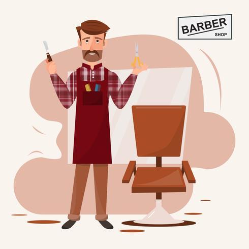 intelligenter Friseurmann, der vor seinem Friseursalon steht. vektor