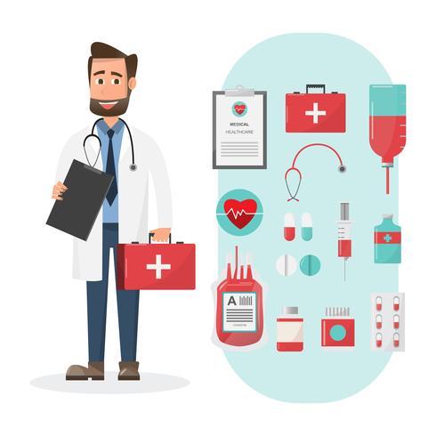 Satz Doktoren, die Kastenzeichen der ersten Hilfe mit medizinischen Elementen halten vektor