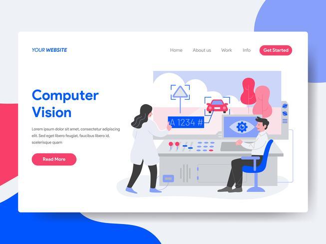 Målsida mall för dator Vision Illustration Concept. Isometrisk plattformkoncept för webbdesign för webbplats och mobilwebbplats. Vektorns illustration vektor