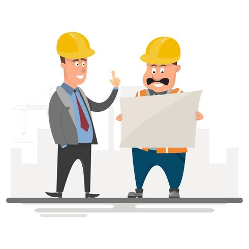 Architekt, Vorarbeiter, Bauingenieur leiten ein Projekt auf der Baustelle vektor