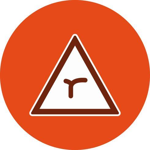 Vektor-Kreuzung der Biegung voraus Verkehrsschild-Symbol vektor