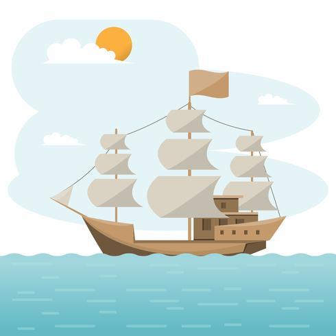 Seetransport logistisch. Brig, Seefracht. Frachtschiff, Containerverschiffung auf flachen Stil vektor
