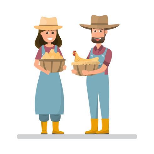 Landwirt hält Eier und Henne. Karikaturmann und -frau mit organischem Naturkost vom Dorfbauernhof vektor
