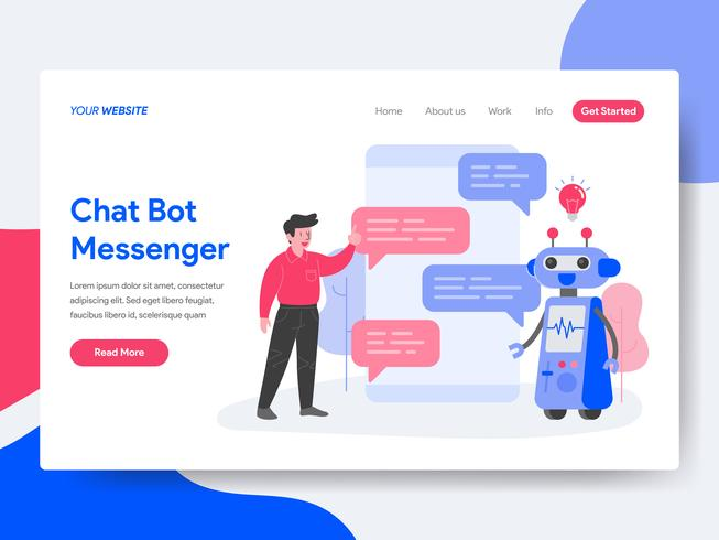 Landing-Page-Vorlage von Chat Bot Messenger Illustration Concept. Isometrisches flaches Konzept des Entwurfes des Webseitendesigns für Website und bewegliche Website. Vektorillustration vektor