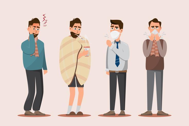 Kranke Menschen fühlen sich unwohl, Kopfschmerzen, Erkältung, saisonale Grippe, Husten und laufende Nase. vektor