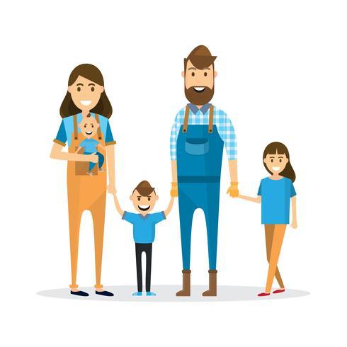 Glückliche Familie. Vater, Mutter, Baby, Sohn und Tochter lokalisiert auf weißem Hintergrund vektor